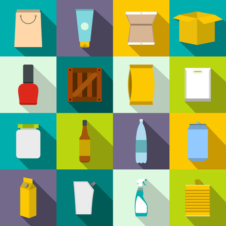 package design: Packaging flat icons set for web and mobile devices