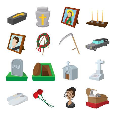 testament schreiben: Begr�bnis und Bestattung Cartoon Symbole auf wei�em Hintergrund Illustration