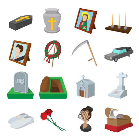 Funeral and burial cartoon icons set isolated on white background