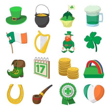 St Patrick Day cartoon icons set isolated on white background Illustration