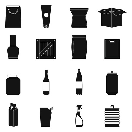 Packaging black simple icons set isolated on white background