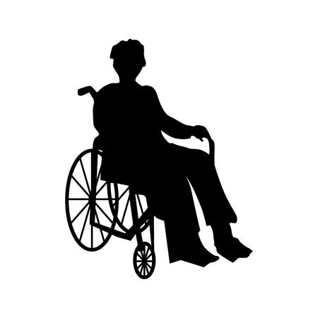 Mann oder eine Frau im Rollstuhl Silhouette isoliert auf weiß