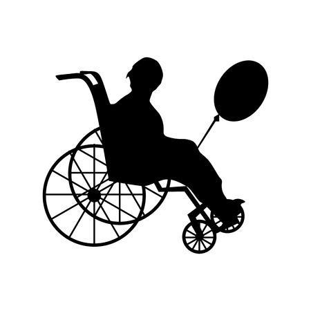 paraplegic: Hombre o mujer en la silueta de silla de ruedas aislado en blanco