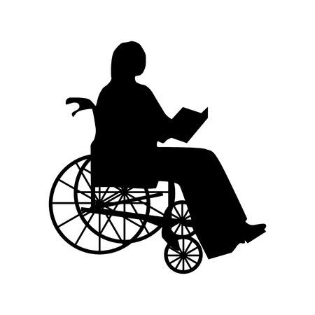 paraplegico: Hombre o mujer en la silueta de silla de ruedas aislado en blanco