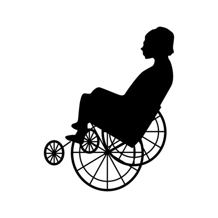 crippled: Man or woman in wheelchair silhouette isolated on white