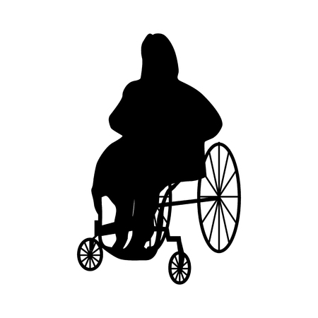 Man or woman in wheelchair silhouette isolated on white