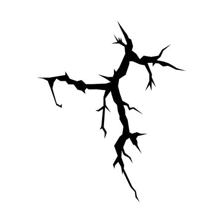 cracks: Cracks black silhouette isolated on white background for disaster design