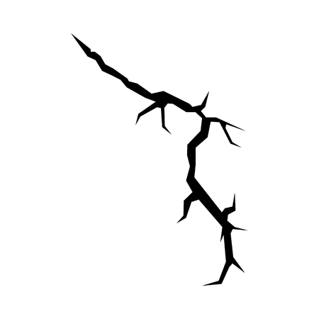 sabotage: Cracks black silhouette isolated on white background for disaster design