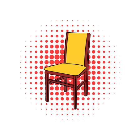 silla de madera: Clásico icono de la silla de madera cómica aislado en un fondo blanco