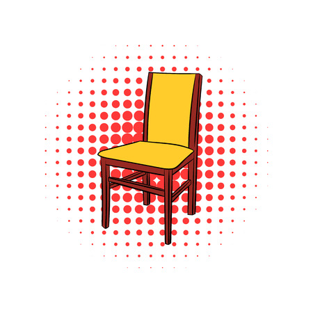 outdoor chair: Classic wooden chair comic icon isolated on a white background