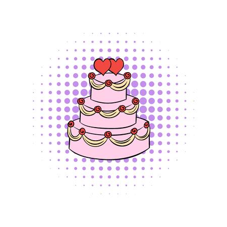 wedding cake isolated: Wedding cake comics icon isolated on a white background