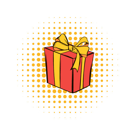 donative: Gift box comics icon isolated on a white background Illustration