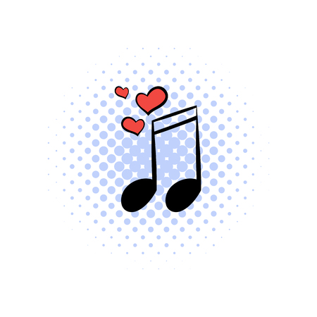 valentine musical note: Wedding music comics icon isolated on a white background