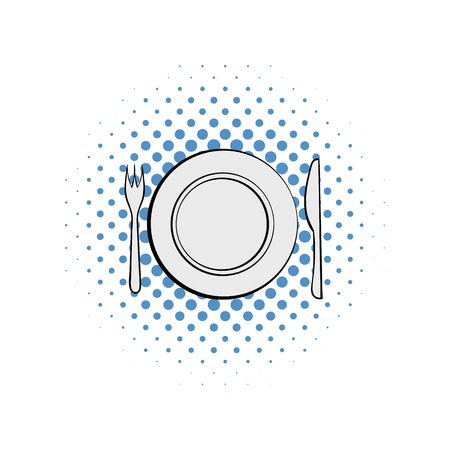 wedding table setting: Wedding utensils comics icon isolated on a white background