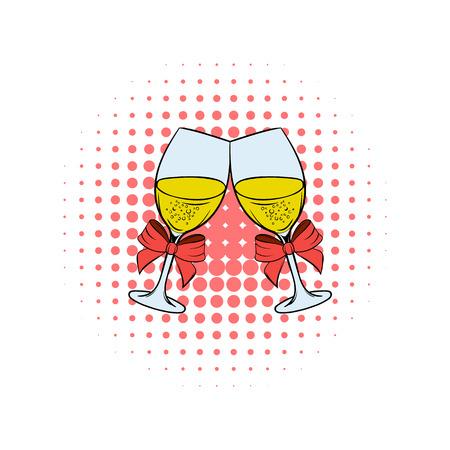 Zwei Gläser Champagner Comics Symbol isoliert auf einem weißen Hintergrund