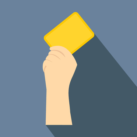 dismissal: Referee showing yellow card flat icon on a grey background