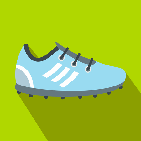 Soccer shoes flat icon on a green background
