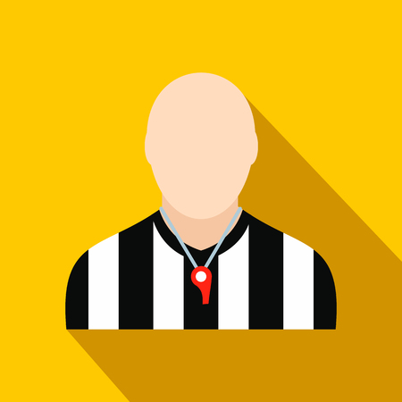 penalty card: Referee flat icon on a yellow background