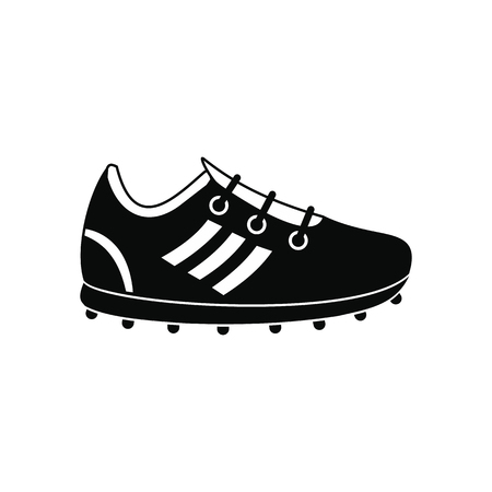 soccer shoes: Soccer shoes black simple icon isolated on white background