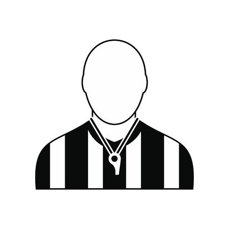 Árbitro simple icono negro aislado en el fondo blanco