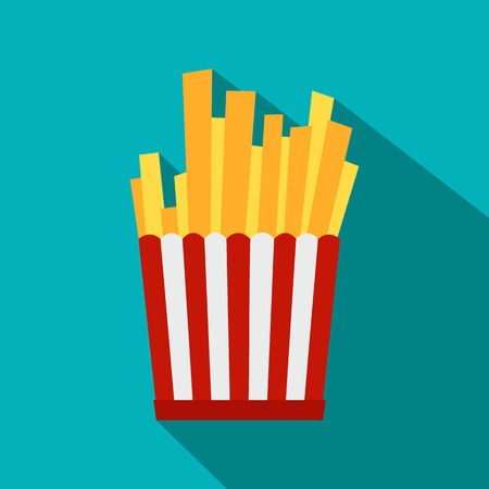 French fries in red and white striped paper box flat icon on a blue background Illustration