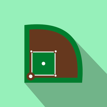 outfield: Baseball field flat icon for web and mobile devices