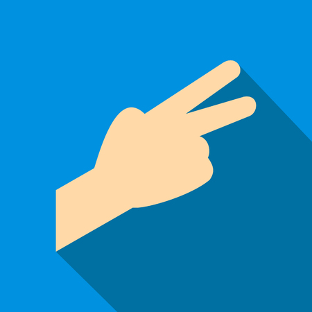 Hand with two fingers flat icon on a blue background Illustration
