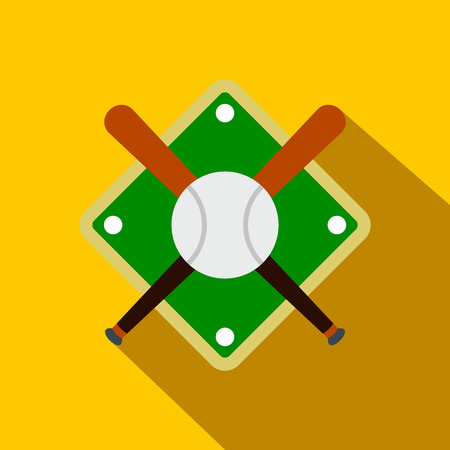 outfield: Baseball bats and ball on baseball field flat icon on a yellow background