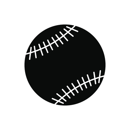 fastball: Baseball black simple icon isolated on white background