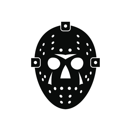 Halloween hockey mask black simple icon isolated on white background