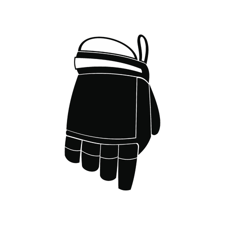 Hockey glove black simple icon isolated on white background
