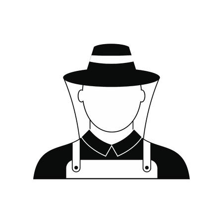 beekeeper: Beekeeper black simple icon isolated on white background Illustration