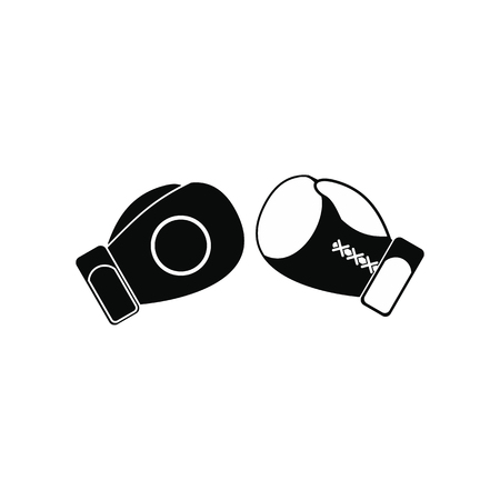 Boxing gloves black simple icon isolated on white background