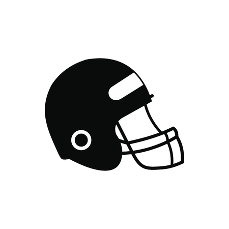 major league: Football helmet with face mask black simple icon isolated on white background