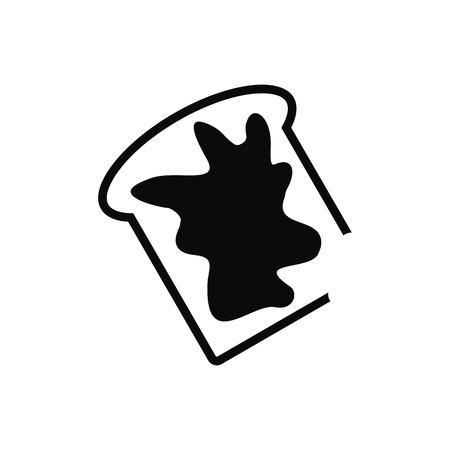 toasted: Slice of bread with honey isolated on white background Illustration