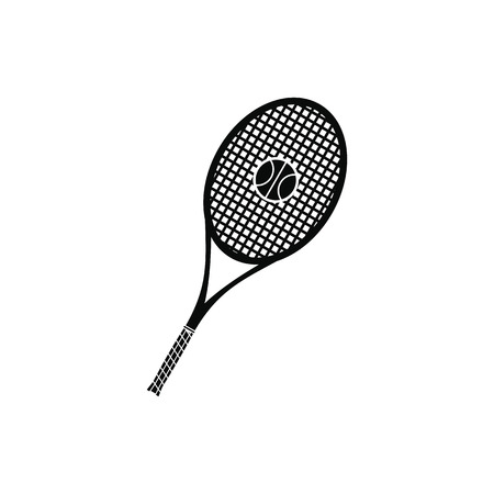 racquet: A tennis racquet and a ball black simple icon Illustration