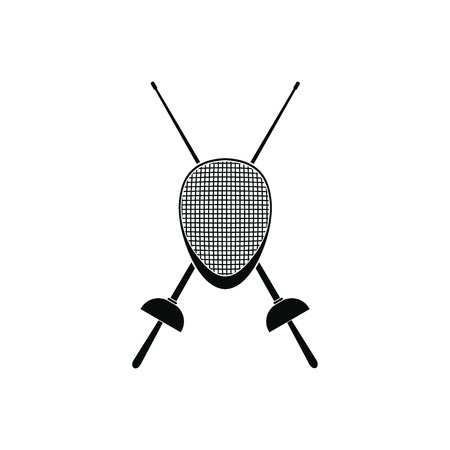pentathlon: Fencing swords and helmet mask black simple icon Illustration
