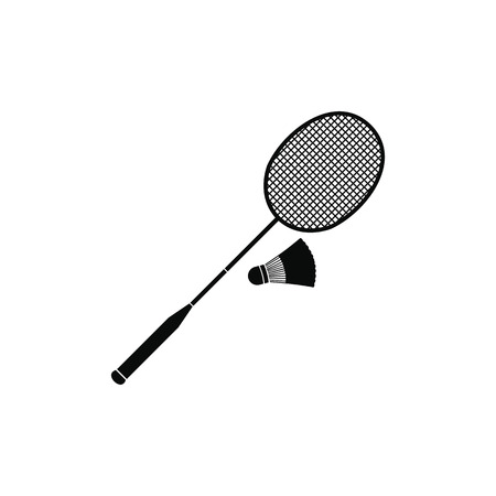 battledore: Badminton racket and shuttlecock black simple icon