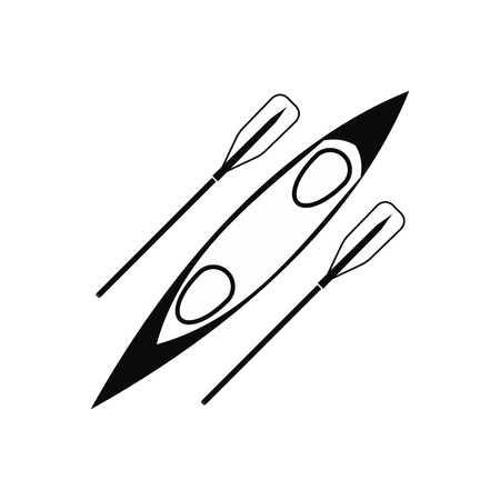 black white kayak: Kayak and rowing oar black simple icon isolated on white background