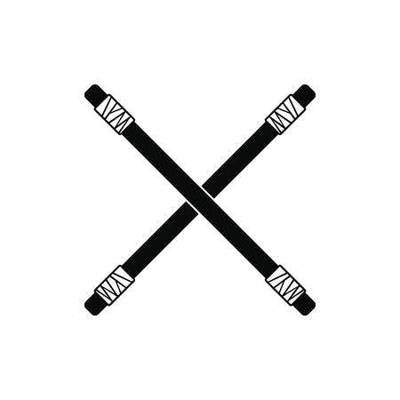Wooden sword bokken black simple icon isolated on white background
