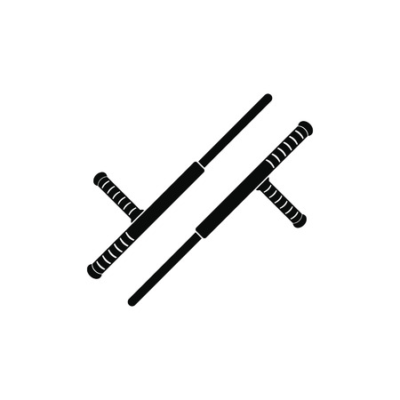 nightstick: Tonfa weapon black simple icon isolated on white background