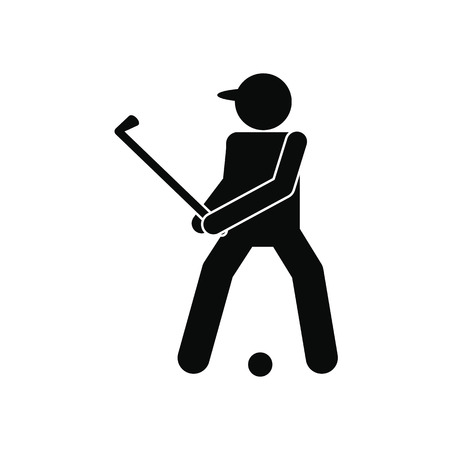 golfer: Golfer silhouette black simple icon isolated on white background