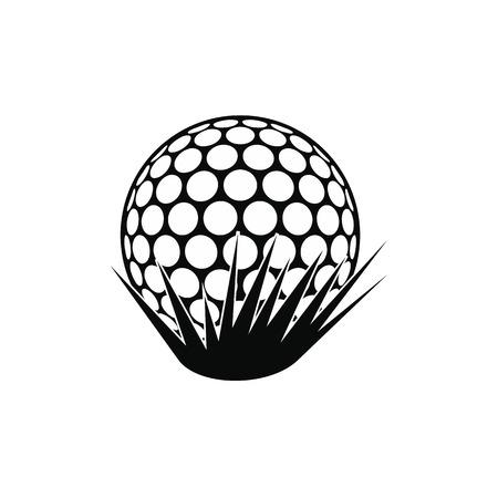 golfball: Golf ball on grass black simple icon