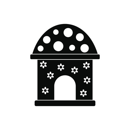 toy house: Toy house black simple icon isolated on white background