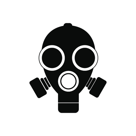 nuclear fear: Gas mask black simple icon isolated on white background