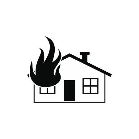 total loss: House on fire black simple icon isolated on white background