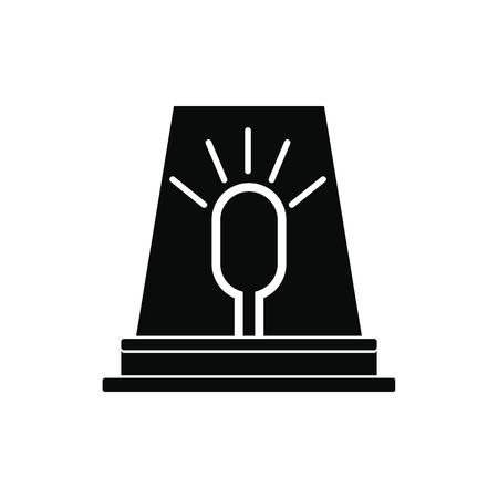 emergency light: Siren red flashing emergency light black simple icon Illustration