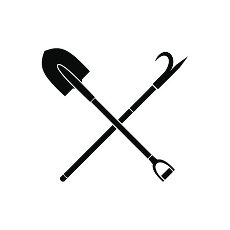 gaff: Shovel and scrap black simple icon isolated on white background