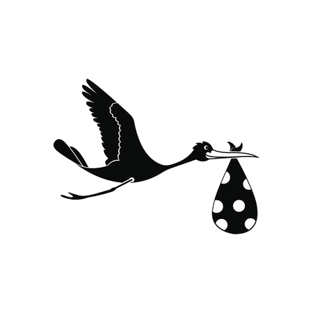 stork flying with bundle: Flying stork with a bundle black simple icon