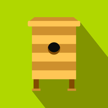 beehive: Beehive flat icon. Beehive with honey bees on a green background. Organic beekeeping Illustration